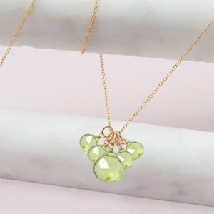 elsa style August birthstone necklace in peridot and gold-fill by Erin Gallagher