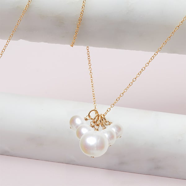 elsa style June birthstone necklace in pearl and gold-fill by Erin Gallagher