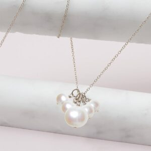 elsa style June birthstone necklace in pearl and sterling silver by Erin Gallagher