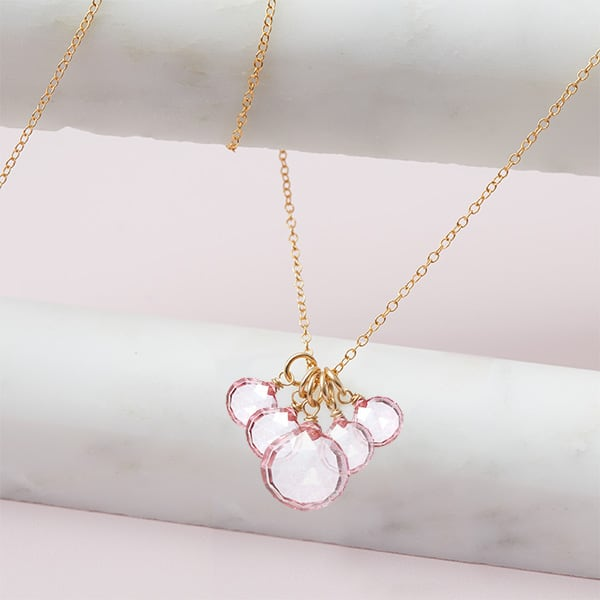 elsa style October birthstone necklace in pink topaz and gold-fill by Erin Gallagher