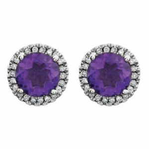 These diamond halo amethyst stud earrings in white gold is a favorite piece of amethyst jewelry - a perfect February birthstone jewelry gift.