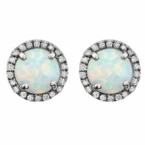 These diamond halo opal earrings in white gold are a favorite piece of opal jewelry - a perfect October birthstone jewelry gift