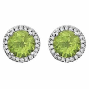 These diamond halo earrings in white gold are a favorite piece of peridot jewelry - a perfect August birthstone jewelry gift.