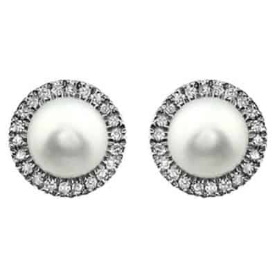 The Diamond halo pearl earrings in white gold are a favorite piece of pearl jewelry - a perfect June birthstone jewelry gift.