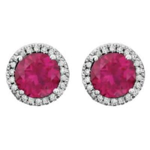 These diamond halo ruby earrings in white gold are a favorite piece of ruby jewelry - a perfect July birthstone jewelry gift.