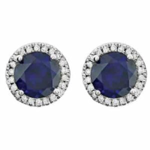 These diamond halo sapphire earrings in white gold are a favorite piece of sapphire jewelry - a perfect September birthstone jewelry gift.