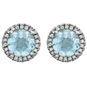 These diamond halo swiss blue topaz earrings in white gold are a favorite piece of swiss blue topaz jewelry - a perfect December birthstone jewelry gift