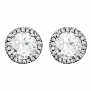 These diamond halo white topaz earrings in white gold are a favorite piece of white topaz jewelry - a perfect April birthstone jewelry gift.