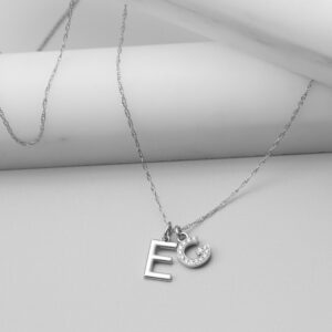 This custom initial necklace in white gold is a favorite custom initial necklace - the perfect custom gift.