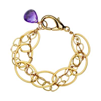 isabella style February birthstone bracelet in amethyst and gold-fill by Erin Gallagher