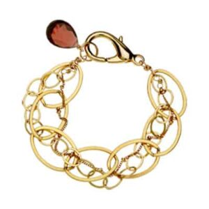 This Isabella garnet bracelet in gold is a favorite piece of garnet jewelry - a perfect piece of January birthstone jewelry.