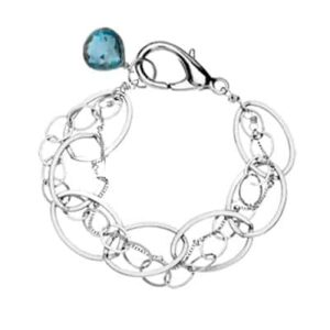 Isabella style September birthstone bracelet in london blue topaz and sterling-silver by Erin Gallagher