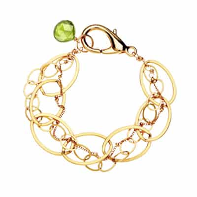 Isabella style August birthstone bracelet in peridot and gold-fill by Erin Gallagher