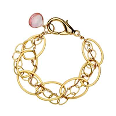 Isabella style October birthstone bracelet in pink topaz and gold-fill by Erin Gallagher