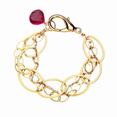 The Isabella ruby bracelet in gold is a favorite piece of ruby jewelry - a perfect July birthstone jewelry gift.