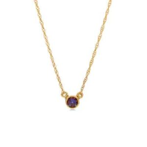 The Jen alexandrite necklace in yellow gold is a favorite piece of alexandrite jewelry - a perfect June birthstone jewelry gift.