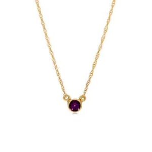 This bezel-set amethyst necklace in yellow gold is a favorite piece of amethyst jewelry - a perfect February birthstone jewelry gift.