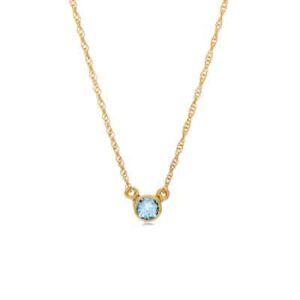 This aquamarine necklace in yellow gold is a favorite piece of aquamarine jewelry - a perfect March birthstone jewelry gift.