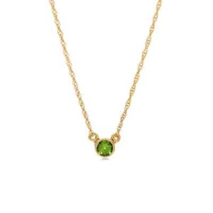 The Jen peridot necklace in yellow gold is a favorite piece of peridot jewelry - a perfect August birthstone jewelry gift.