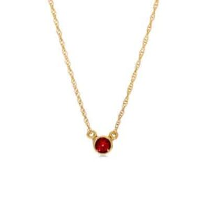The Jen ruby necklace in yellow gold is a favorite piece of ruby jewelry - a perfect July birthstone jewelry gift.