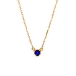 This sapphire necklace in yellow gold is a favorite piece of sapphire jewelry - a perfect September birthstone jewelry gift.