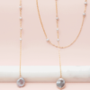 grey pearl gold lariat necklace
