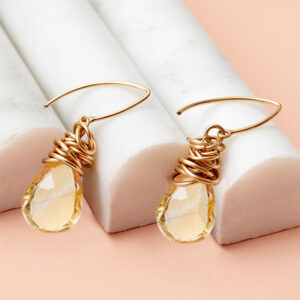 These Paisley citrine earrings in gold is a favorite piece of citrine jewelry - a perfect November birthstone jewelry gift.