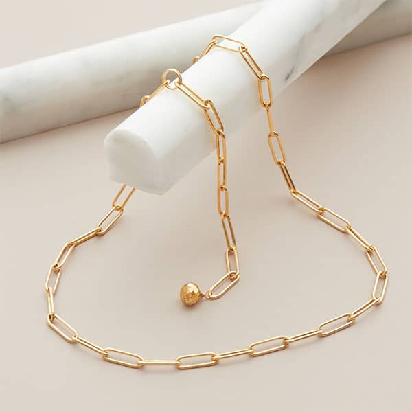 14K gold-fill paper clip necklace