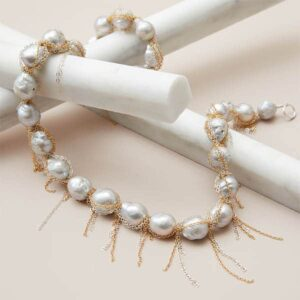 baroque pearl fringe necklace