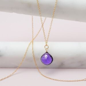 This Rita amethyst necklace in gold is a favorite piece of amethyst jewelry - a perfect February birthstone jewelry gift.