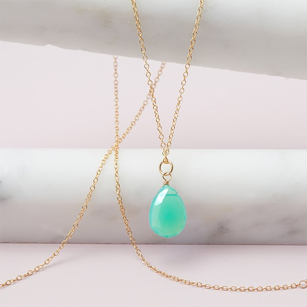 Rita style May birthstone necklace in chrysoprase and gold-fill by Erin Gallagher