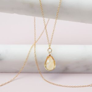 Rita style November birthstone necklace in citrine and gold-fill by Erin Gallagher