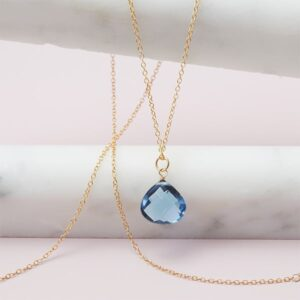 Rita style September birthstone necklace in london blue topaz and gold-fill by Erin Gallagher