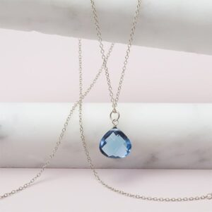 Rita style September birthstone necklace in london blue topaz and sterling silver by Erin Gallagher