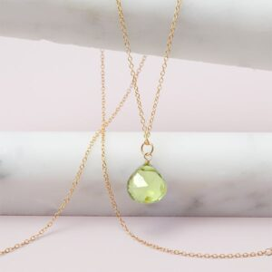 Rita style August birthstone necklace in peridot and gold-fill by Erin Gallagher