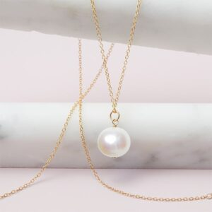 This Rita pearl necklace in gold is a favorite piece of pearl jewelry - a perfect June birthstone jewelry gift.