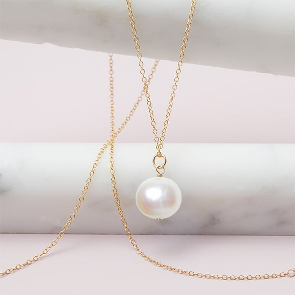Rita style June birthstone necklace in pearl and gold-fill by Erin Gallagher