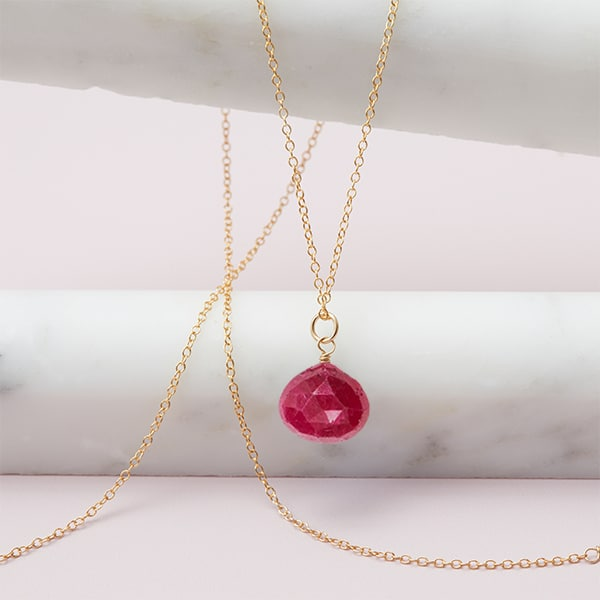 Rita style July birthstone necklace in ruby and gold-fill by Erin Gallagher