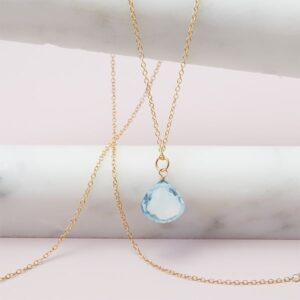 Rita style December birthstone necklace in swiss blue topaz and gold-fill by Erin Gallagher