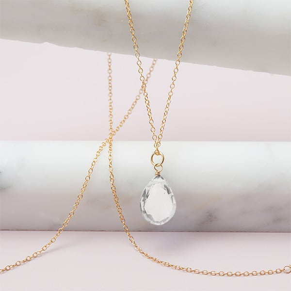 Rita style April birthstone necklace in white topaz and gold-fill by Erin Gallagher