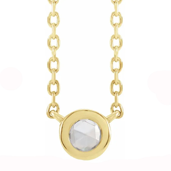Diamond rose-cut center necklace in yellow gold is a favorite piece of diamond jewelry - a perfect April birthstone jewelry gift.
