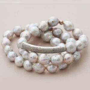 grey pearl stretch bracelets