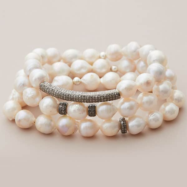 white baroque pearl stack