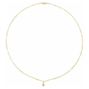 Diamond square necklace in yellow gold is a favorite piece of diamond jewelry - a perfect April birthstone jewelry gift.