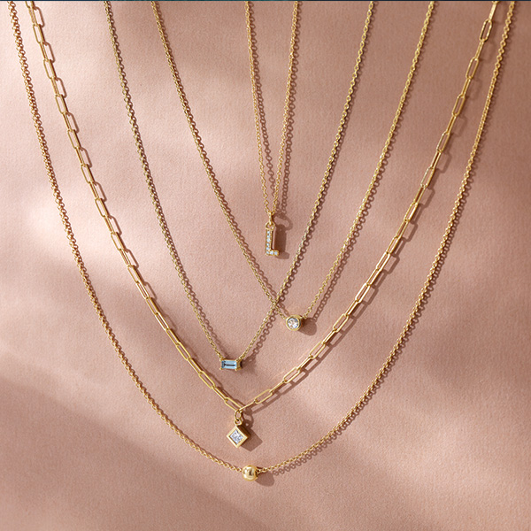 Diamond necklace in rose gold is a favorite piece of diamond jewelry - a perfect April birthstone jewelry gift.