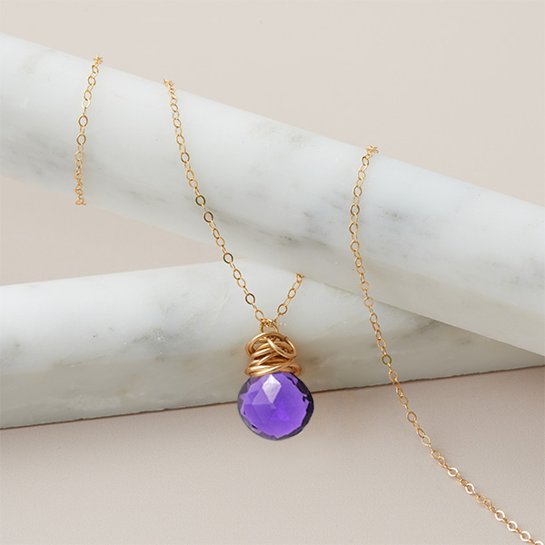 This Trista amethyst necklace is a favorite piece of amethyst jewelry - a perfect February birthstone jewelry gift.