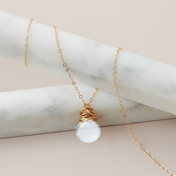 Aquamarine necklace in gold. Trista style March birthstone necklace set in aquamarine and gold by Erin Gallagher