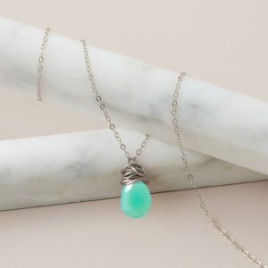 Trista style March birthstone necklace set in chrysoprase and sterling silver by Erin Gallagher