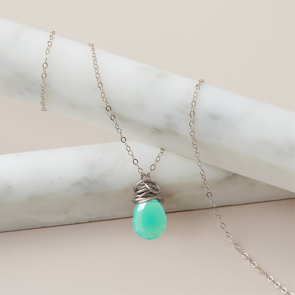 This Trista pendant chrysoprase neckalce in silver is a favorite piece of chrysoprase jewelry - a perfect May birthstone gift.