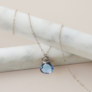 Trista style September birthstone necklace set in london blue topaz and sterling by Erin Gallagher